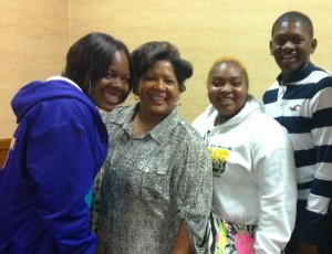 McComb students with Reena Evers.