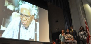 Students show their film, with interview with veteran CC Bryant, at the African American Civil War Museum.