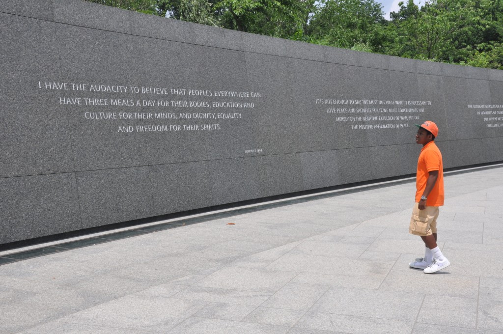 Noah Martin has studied his local history and bringing it to a national audience. Here he visited the Dr. King Memorial while in DC for National History Day 2013. Photo by Roy Lewis.